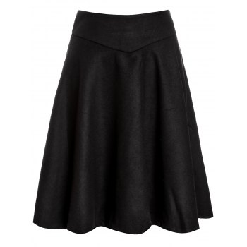 High Waist Woolen Midi Skirt