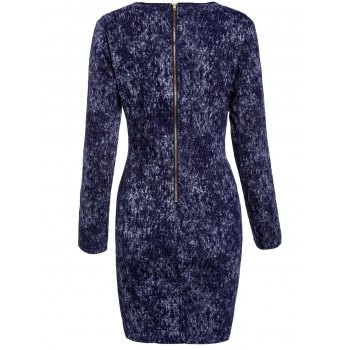 Sexy Long Sleeve Scoop Neck Denim Splicing Dress For Women - BLUE ONE SIZE(FIT SIZE XS TO M)
