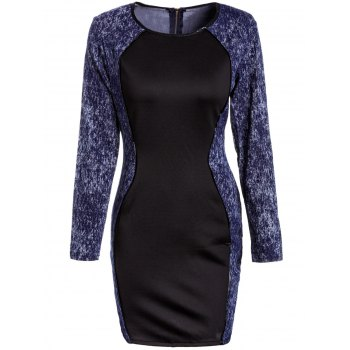 Sexy Long Sleeve Scoop Neck Denim Splicing Dress For Women