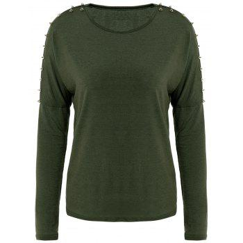 All-Match Solid Color Scoop Collar Rivet Shoulder Long Sleeves Women's T-shirt - GREEN GREEN