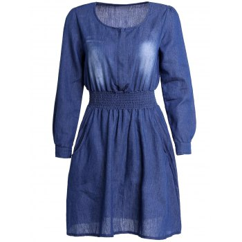 Stylish Solid Color Long Sleeve Scoop Neck Women's Denim Dress - BLUE L