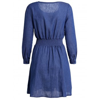 Stylish Solid Color Long Sleeve Scoop Neck Women's Denim Dress - L L