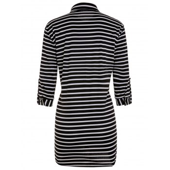 Fashionable Turn-Down Collar Stripe 3/4 Sleeve Shirt Dress For Women - STRIPE STRIPE