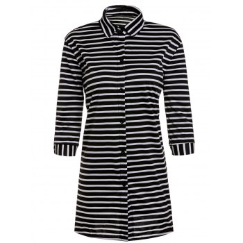 Fashionable Turn-Down Collar Stripe 3/4 Sleeve Shirt Dress For Women