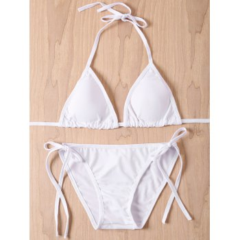 Sexy Lace-Up Solid Color Halter Women's Bikini Set