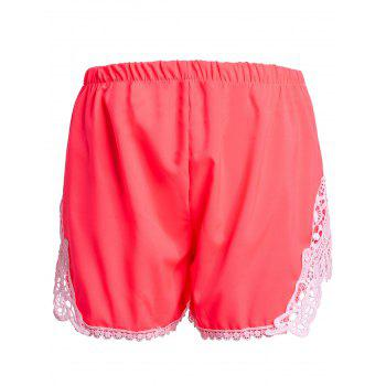Sweet Laced Elastic Waist Shorts For Women