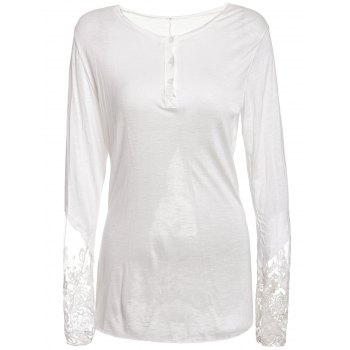 Stylish Scoop Collar Long Sleeve See-Through Solid Color Women's T-Shirt