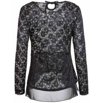 Sexy Long Sleeve Scoop Neck Lace Ruffled Blouse For Women - BLACK BLACK