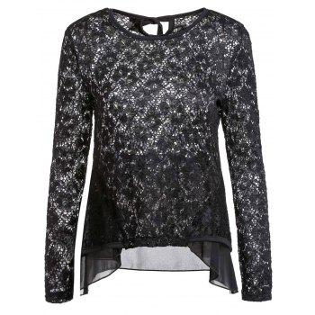 Sexy Long Sleeve Scoop Neck Lace Ruffled Blouse For Women - BLACK M