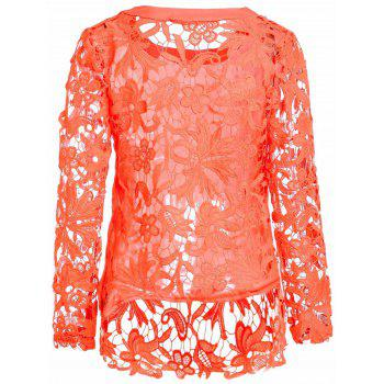 Stylish Round Collar Long Sleeve Hollow Out Solid Color Women's Blouse - ORANGE ORANGE