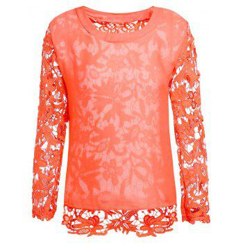 Stylish Round Collar Long Sleeve Hollow Out Solid Color Women's Blouse