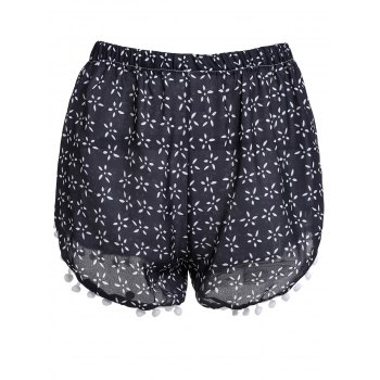 Stylish Elastic Waist Tiny Floral Print Irregular Hem Laciness Women's Shorts - CADETBLUE M