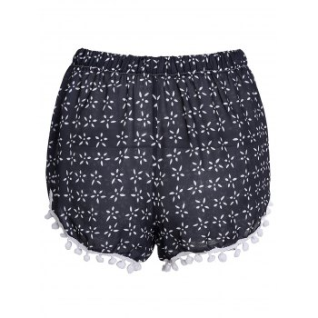 Stylish Elastic Waist Tiny Floral Print Irregular Hem Laciness Women's Shorts - CADETBLUE XL