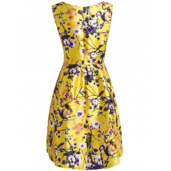 Stylish Flower and Birds Print Slash Neck Sleeveless Dress For Women - YELLOW XL