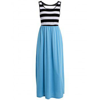 Stylish Women's Scoop Neck Sleeveless Striped Maxi Dress