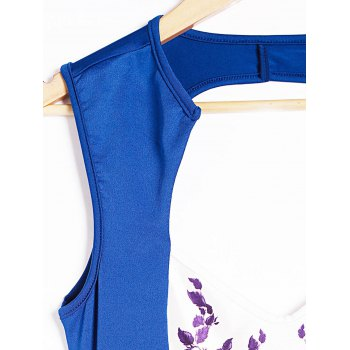 Plunging Neck Sleeveless Spliced Printed Backless Women's Dress - ROYAL BLUE S