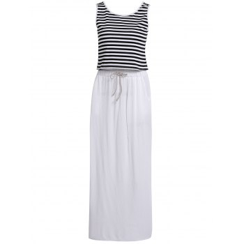 Trendy Stripe Print Tank Top+ Loose Wide-Leg White Skirt Twinset For Women