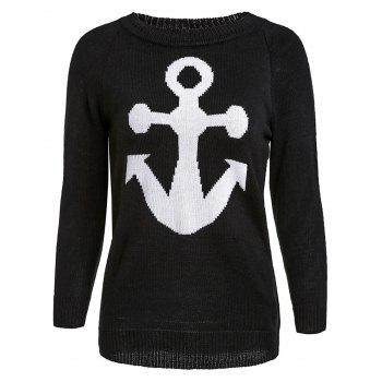 Stylish Jewel Neck Anchor Print Sweater For Women