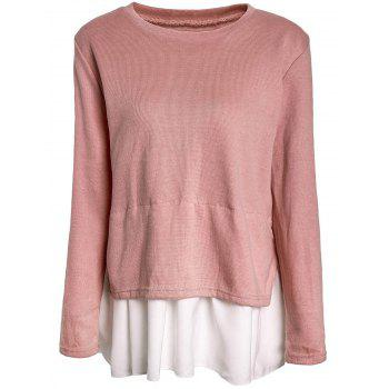 Buy Sweet Round Neck Long Sleeve Loose-Fitting Chiffon Spliced Women's Knitwear PINK
