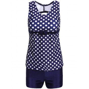 Stylish Women's Scoop Neck Hollow Out Polka Dot Two-Piece Swimsuit