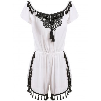 Sexy Short Sleeve Off-The-Shoulder Tassles Lace Spliced Women's Romper