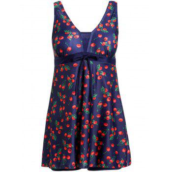 Stylish Women's V-Neck Bowknot Embellished Cherry Pattern One-Piece Swimsuit