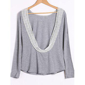 Sexy Round Collar Long Sleeve Backless Spliced Women's T-Shirt - GRAY S