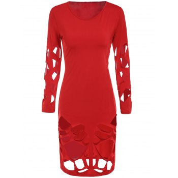 Sexy Long Sleeve Round Neck Slimming Solid Color Hollow Out Women's Dress