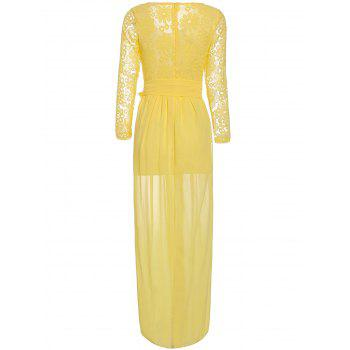 Sexy Round Neck Long Sleeve Lace-Up Spliced Furcal Women's Dress - YELLOW L
