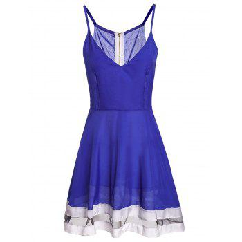Sexy Spaghetti Strap Spliced Low Cut Women's Dress - BLUE XL