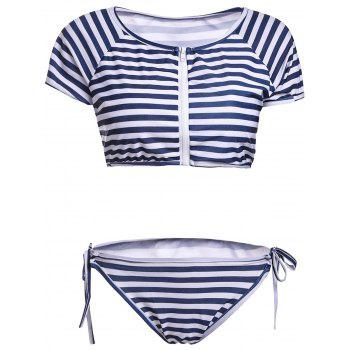 Scoop Neck Striped Short Sleeve Two Piece Swimwear For Women