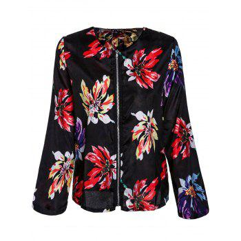 Ethnic Style Floral Print Round Collar Long Sleeve Coat For Women