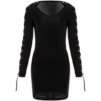 Sexy Plunging Collar Long Sleeve Bodycon Hollow Out Women's Dress - BLACK S