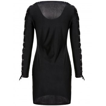 Sexy Plunging Collar Long Sleeve Bodycon Hollow Out Women's Dress - S S