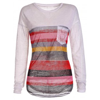 Chic Jewel Neck Long Sleeve Colorful Striped Irregular T-Shirt For Women