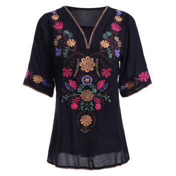 Ethnic Style Women's V Neck Embroidery 3/4 Sleeve Blouse