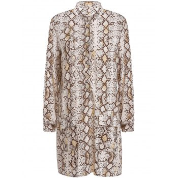 Trendy Python Printed Long Sleeve Shirt Dress For Women