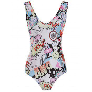 Fashionable Scoop Neck Full Print Slimming Swimsuit For Women