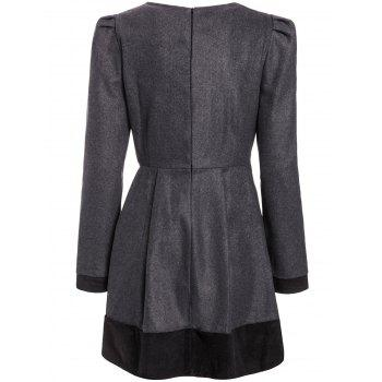 Elegant Jewel Neck Color Block Long Sleeve Worsted Dress For Women - DEEP GRAY M