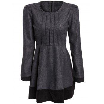 Elegant Jewel Neck Color Block Long Sleeve Worsted Dress For Women