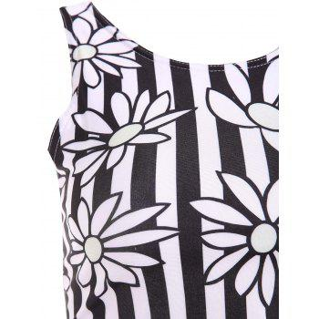Stylish Round Neck Floral Print Two Piece Swimsuit For Women - WHITE/BLACK XL