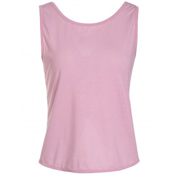 Cute Bowknot Round Neck Backless Knitted Vest For Women - PINK XL