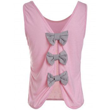 Cute Bowknot Round Neck Backless Knitted Vest For Women - PINK PINK