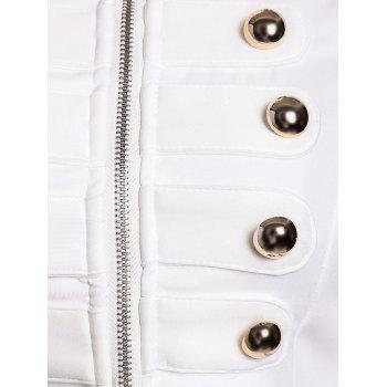 Fashionable Stand Collar Double-Breasted Zipper Long Sleeve Jacket For Women - WHITE S
