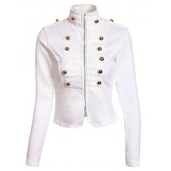 Fashionable Stand Collar Double-Breasted Zipper Long Sleeve Jacket For Women