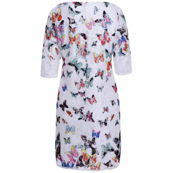 Women's Refreshing Scoop Neck Butterfly Pattern 3/4 Sleeve Lace Dress - AS THE PICTURE XL