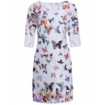 Women's Refreshing Scoop Neck Butterfly Pattern 3/4 Sleeve Lace Dress