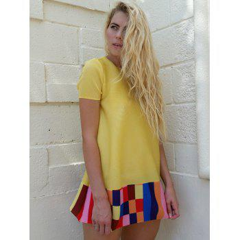 Cute Women's Jewel Neck Short Sleeves Color Block Dress - YELLOW ONE SIZE(FIT SIZE XS TO M)