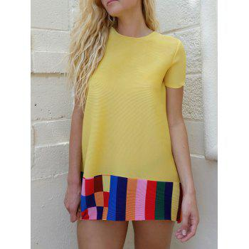 Cute Women's Jewel Neck Short Sleeves Color Block Dress