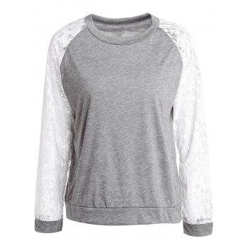 Sweet Lace Splicing Round Neck Long Sleeve Sweatshirt For Women - GRAY GRAY